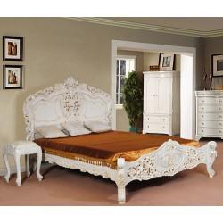 Białe łóżko rokoko barok 160x200 cm 78246