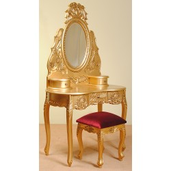 Złota toaletka rzeźbiona barok rokoko