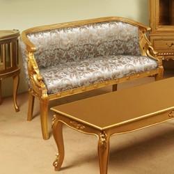 Zlatá sofa labuť pohovka empire