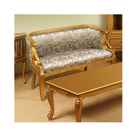 Złota kanapa sofa łabędź empire