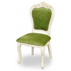 Krzesło rzeźbione barok rokoko białe ecru