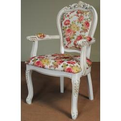 Krzesło rzeźbione fotel barok rokoko białe ecru
