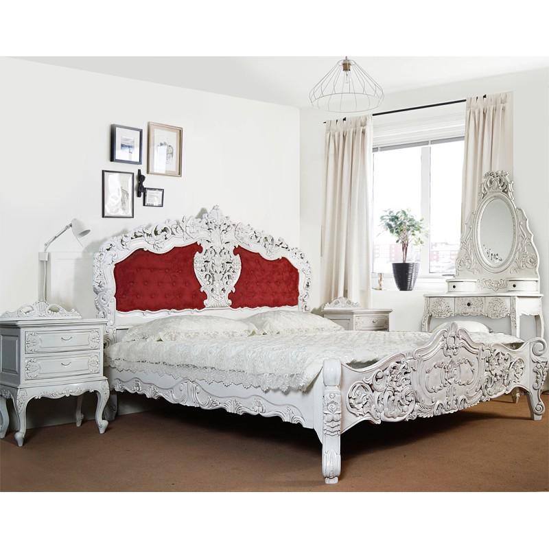 weiss rokoko barock bett 180x200 cm mit polster. Black Bedroom Furniture Sets. Home Design Ideas