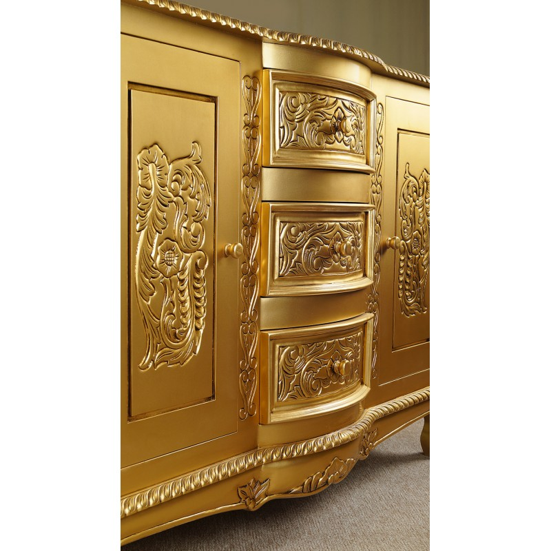 Gold Rococo Baroque Commode Sideboard 120 Cm Livetime Pl