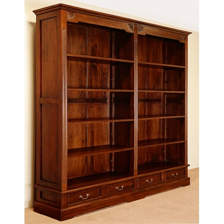 teak double furniture bookcase editions mid nathan bookcases