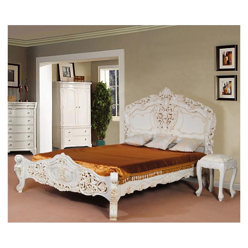 White Rococo Baroque Bed 120x200 Cm Single Livetime Pl