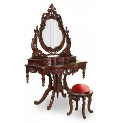 Toaletka rzeźbiona + taboret barok rokoko