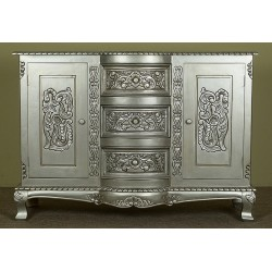 Srebrna komoda 120 cm szafka rokoko barok