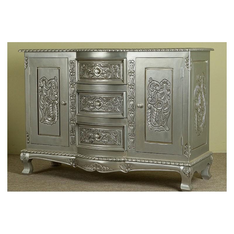 silber kommode schrank 120 cm rokoko barock. Black Bedroom Furniture Sets. Home Design Ideas