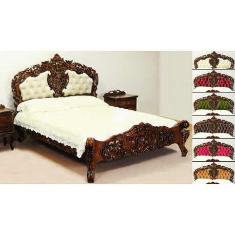 Upholstered Rococo Baroque Bed 140x200 Cm Double Livetime Pl