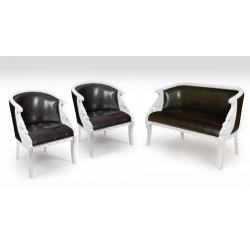 Komplet wypoczynkowy kanapa + 2 fotele łabędź empire biały