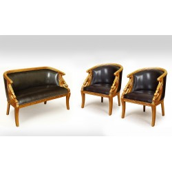 Gold swan sofa + 2 armchairs empire style