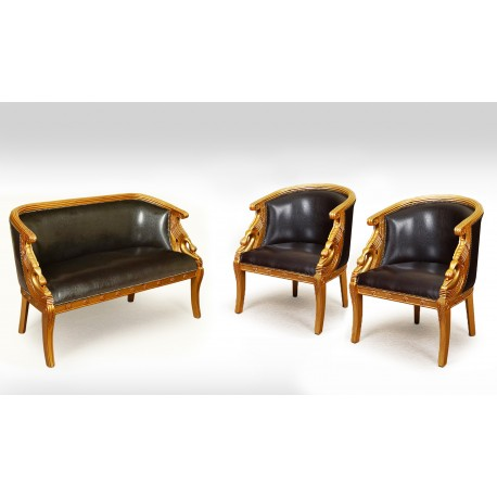 Gold Swan Sofa 2 Armchairs Empire