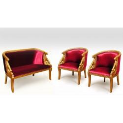 Złoty komplet wypoczynkowy kanapa + 2 fotele łabędź empire