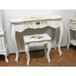 Biała konsolka biurko 95 cm kwiatowe