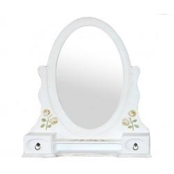 Białe lustro ludwik kwiatowe