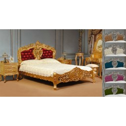 Złote łóżko rokoko barok