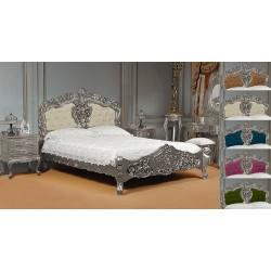 Silver rococo baroque bed