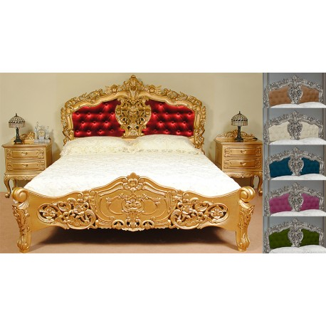 gold rokoko barock bett mit polster 180x200 cm. Black Bedroom Furniture Sets. Home Design Ideas