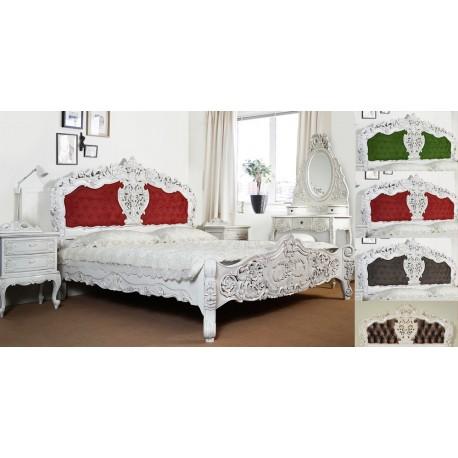 Białe łóżko 120x200 Cm Rokoko Barok Tapicerowane Livetimepl