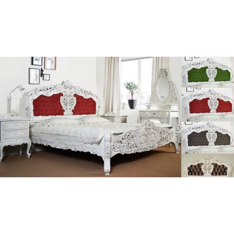 weiss rokoko barock bett 120x200 cm mit polster. Black Bedroom Furniture Sets. Home Design Ideas