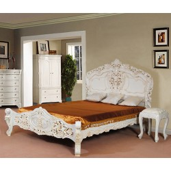 Białe łóżko rokoko barok 200x200 cm