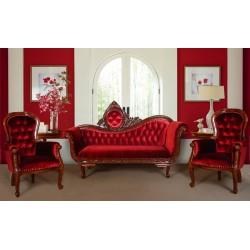 Komplet wypoczynkowy kanapa + 2 fotele Chesterfield