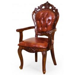 Krzesło rzeźbione ekoskóra fotel ludwik barok rokoko