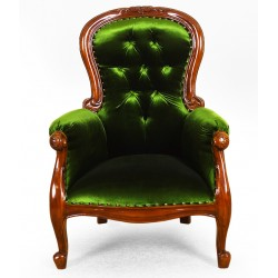 Armchair louis Chesterfield velvet fabric