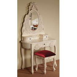 Biała toaletka rzeźbiona barok rokoko